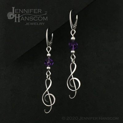 Amethyst G-Clef Earrings on lever-back ear wires - profile view 1