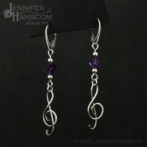 Amethyst G-Clef Earrings on lever-back ear wires - profile view 2