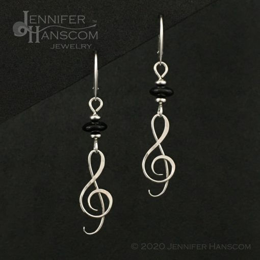 Onyx G-Clef Earrings on lever-back ear wires - front view