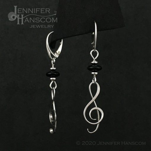 Onyx G-Clef Earrings on lever-back ear wires - front and side view