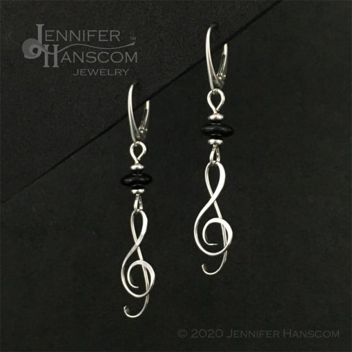 Onyx G-Clef Earrings on lever-back ear wires - profile view 1