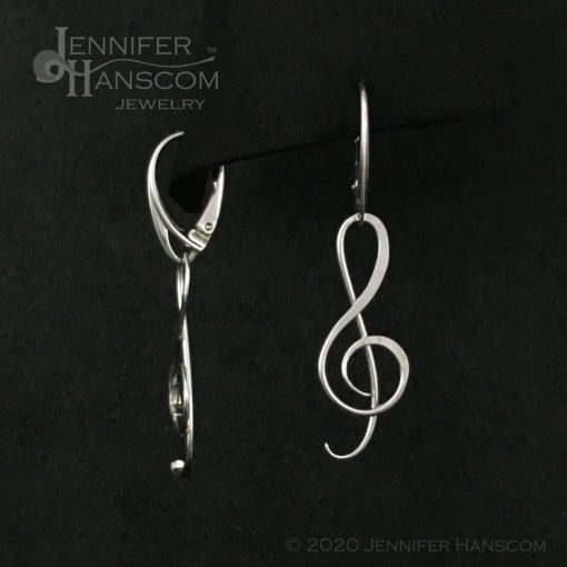 G Clef Earrings with Lever-back Ear Wires - front and side view
