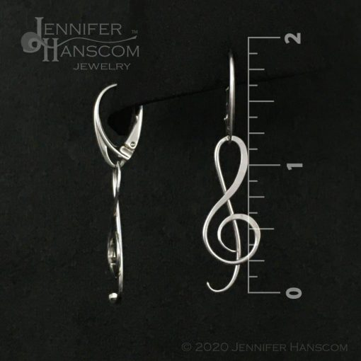 G Clef Earrings with Lever-back Ear Wires - front and side view with measurements