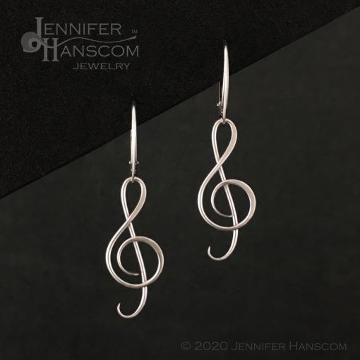 G Clef Earrings with Lever-back Ear Wires - front view