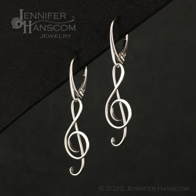 G Clef Earrings with Lever-back Ear Wires - profile view 1
