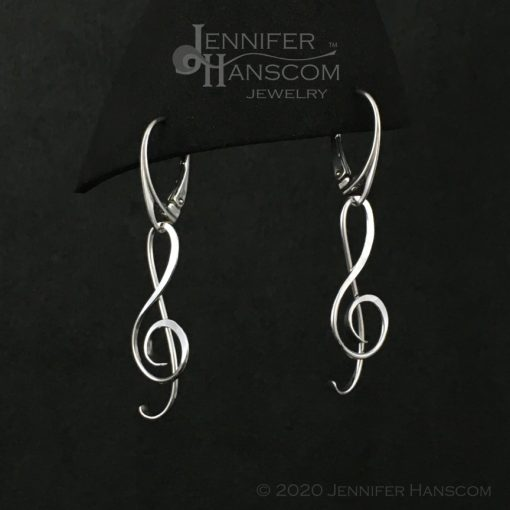 G Clef Earrings with Lever-back Ear Wires - profile view 2
