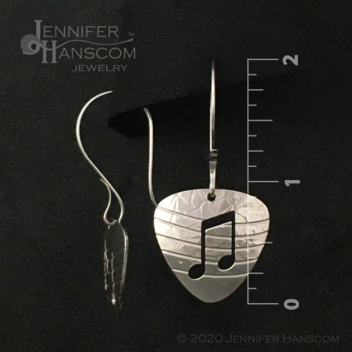 Sterling Silver Guitar Pick Earrings with notes and musical staff on long forged ear wires - front and side view with measurements