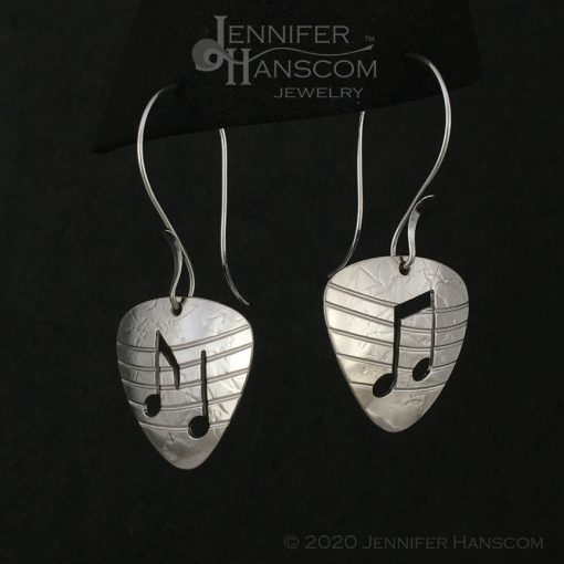 Sterling Silver Guitar Pick Earrings with notes and musical staff on long forged ear wires - profile view 2