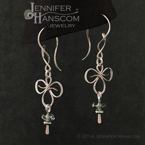 Tri-Flourish Earrings on Balance ear wires with a green amethyst bead dangle- profile view