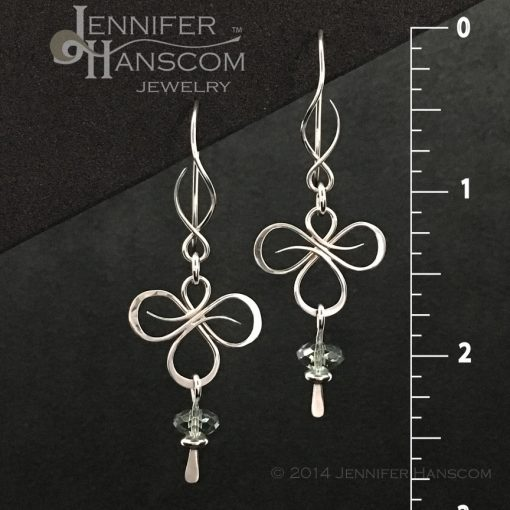 Tri-Flourish Earrings on Balance ear wires with a green amethyst bead dangle- front view with measurements
