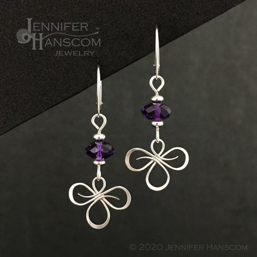 Tri-Flourish Earrings on lever-back ear wires with an amethyst cube beaded link - front view