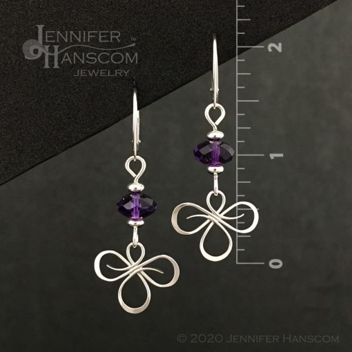 Tri-Flourish Earrings on lever-back ear wires with an amethyst cube beaded link - front view with measurements