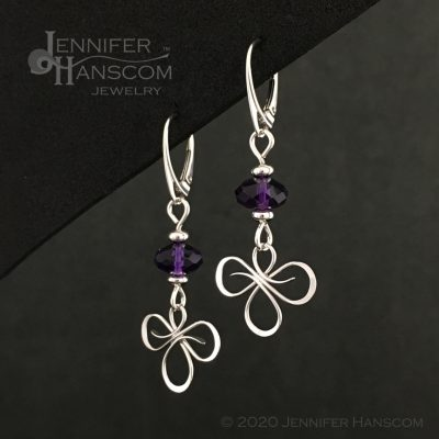 Tri-Flourish Earrings on lever-back ear wires with an amethyst cube beaded link - profile view 1