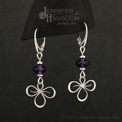 Tri-Flourish Earrings on lever-back ear wires with an amethyst cube beaded link - profile view 2