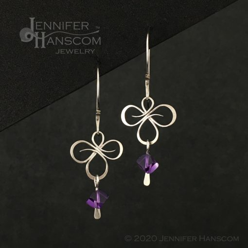 Tri-Flourish Earrings on Long Forged ear wires with an amethyst cube bead dangle - front view