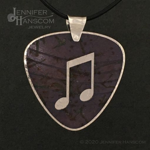 Layered Pierced Guitar Pick Pendant with plum tone copper patina - front 1