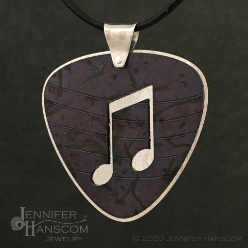 Layered Pierced Guitar Pick Pendant with plum tone copper patina - front 2