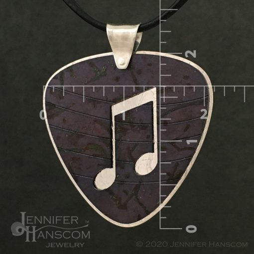 Layered Pierced Guitar Pick Pendant with plum tone copper patina - front 2 with measurements