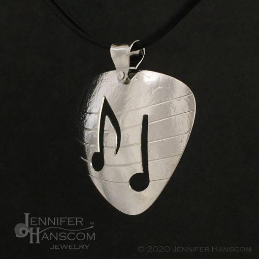 Large Pierced Guitar Pick Pendant - profile 2
