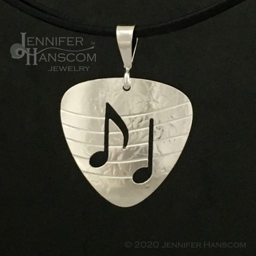 Small Pierced Guitar Pick Pendant - front view