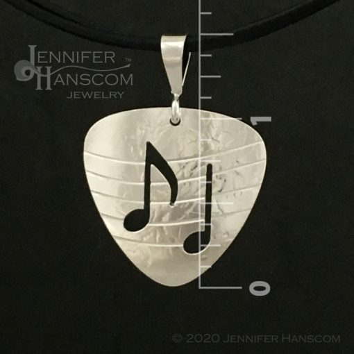 Small Pierced Guitar Pick Pendant - front view with measurements