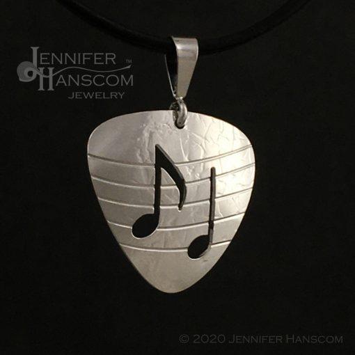 Small Pierced Guitar Pick Pendant - profile 1