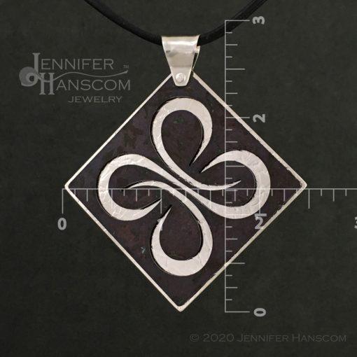 Layered Pierced Quad-Flourish Pendant with plum tone copper patina - front 1 with measurements