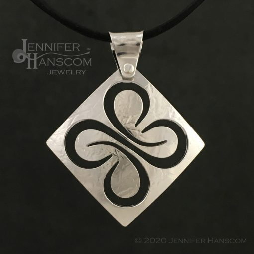 Medium Pierced Quad-Flourish Pendant - front view