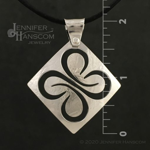 Medium Pierced Quad-Flourish Pendant - front view with measurements