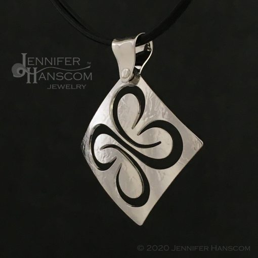 Medium Pierced Quad-Flourish Pendant - profile view
