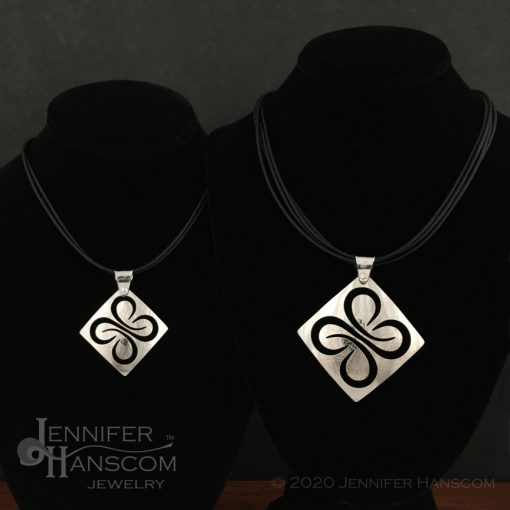 Pierced Quad-Flourish Pendant - size comparison