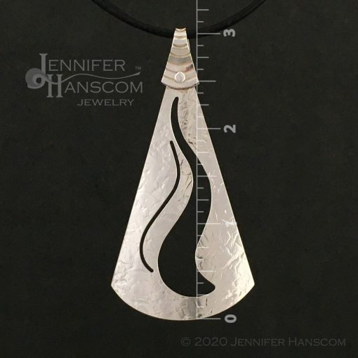 Large pierced ripple pendant - front view with measurements