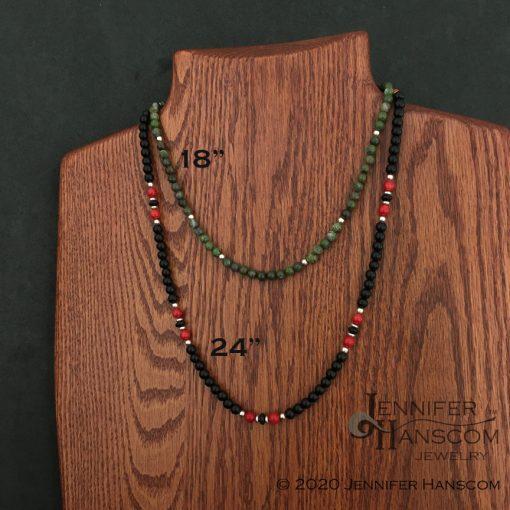 6mm Bead Necklace length comparison