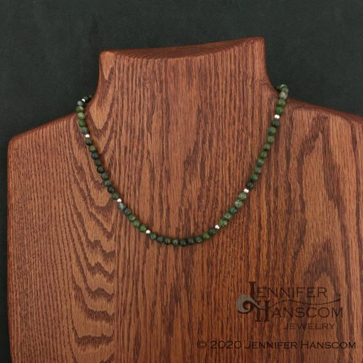 """18"""" 6mm Green Copper Jasper Bead Necklace on form"""