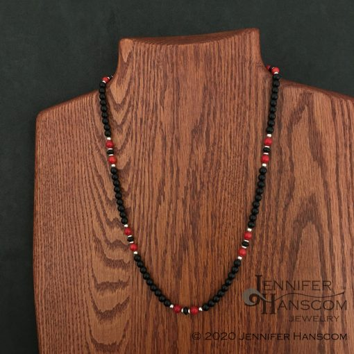 """24"""" 6mm Onyx and Coral Bead Necklace on form"""