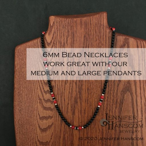 """24"""" 6mm Onyx and Coral Bead Necklace on form with description overlay"""