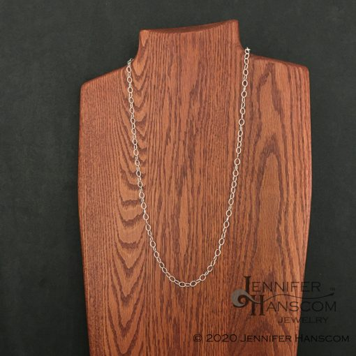Long silver cable chain necklace with convert-a-clasp on form