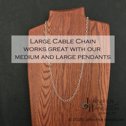 Long silver cable chain necklace with convert-a-clasp on form with description overlay