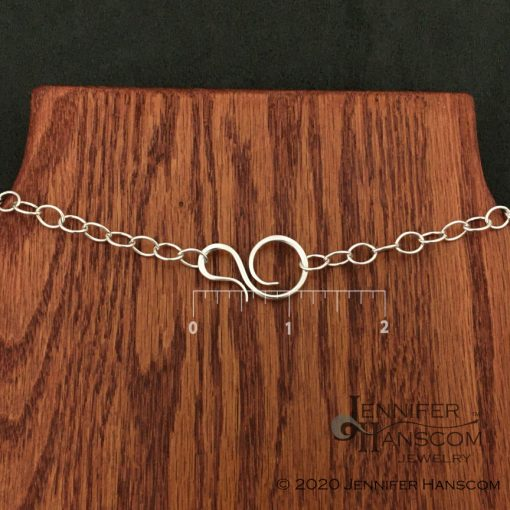 Long silver cable chain necklace with convert-a-clasp clasp with measurements