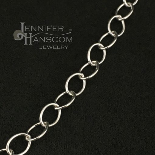Long silver cable chain necklace with convert-a-clasp close-up