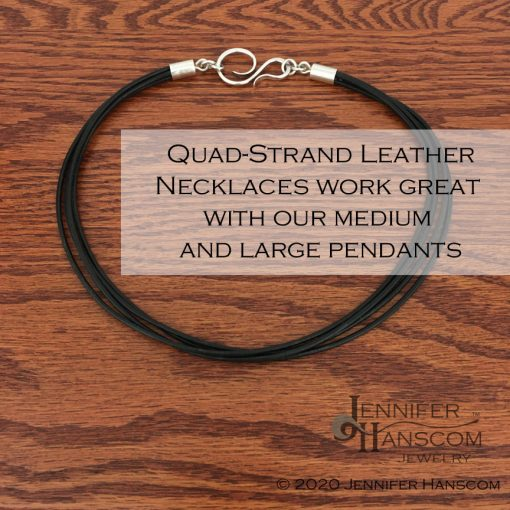 Multi-strand leather necklace laying flat with description overlay