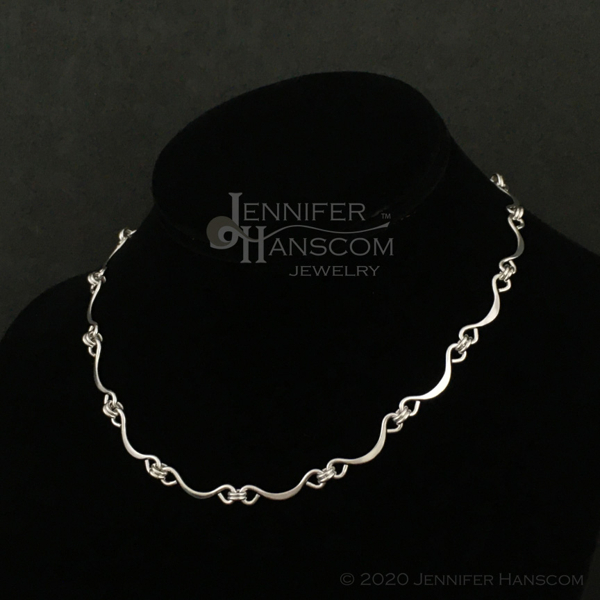 Hand-made Scalloped Ripple Silver Chain on form