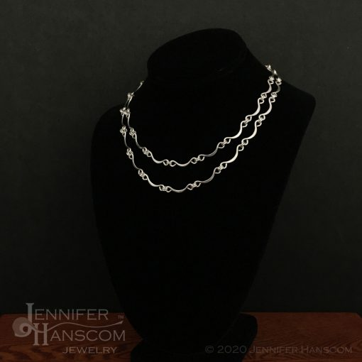 Hand-made Scalloped Ripple Silver Chain length comparison