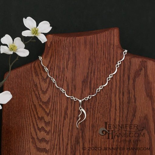 Hand-made Scalloped Ripple Silver Chain with pendant