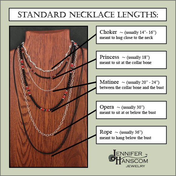 Chart of the standard necklace lengths and their names