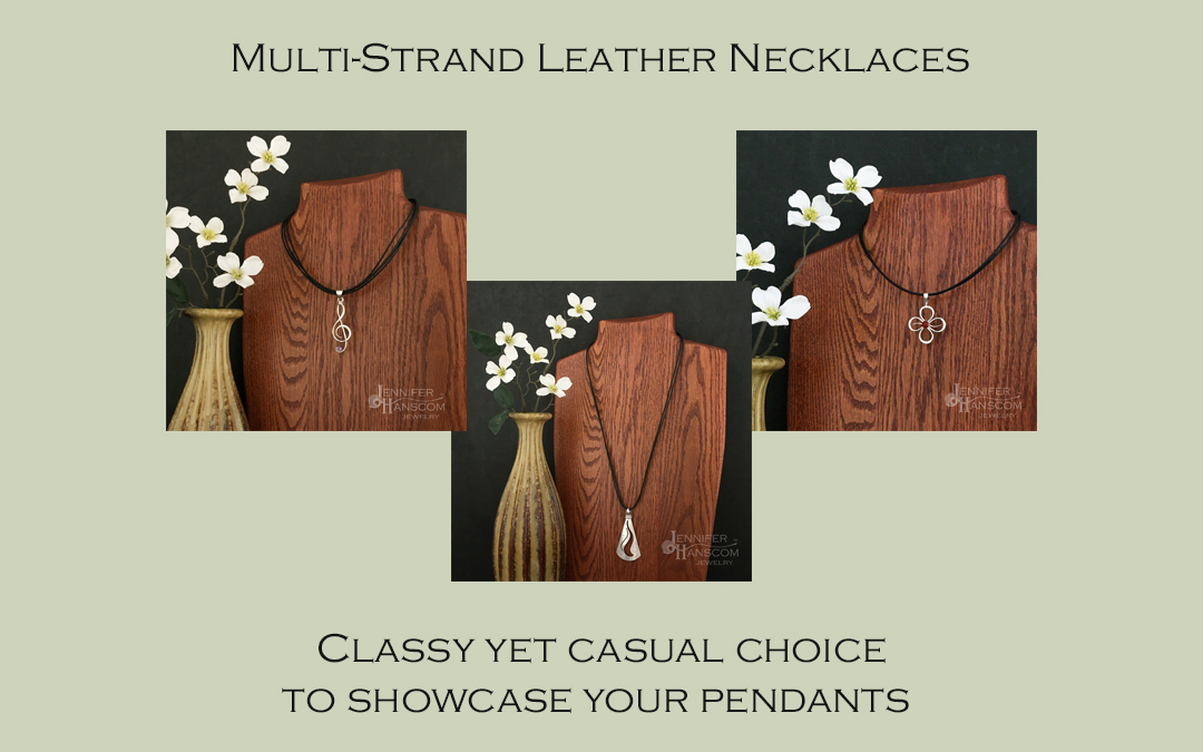 Fall in Love with our Leather Necklaces Blog Image with 3 images of our leather necklaces