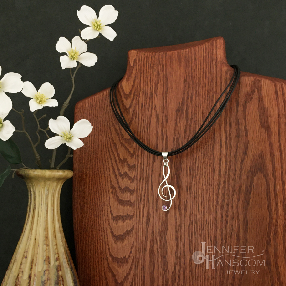 Quadruple Strand Leather Necklace with Amethyst G Clef Pendant
