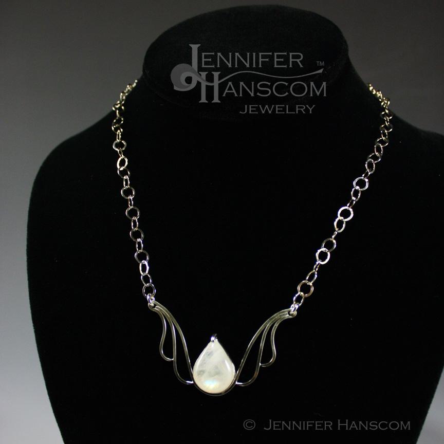 Silver Necklace Featuring Teardrop Moonstone
