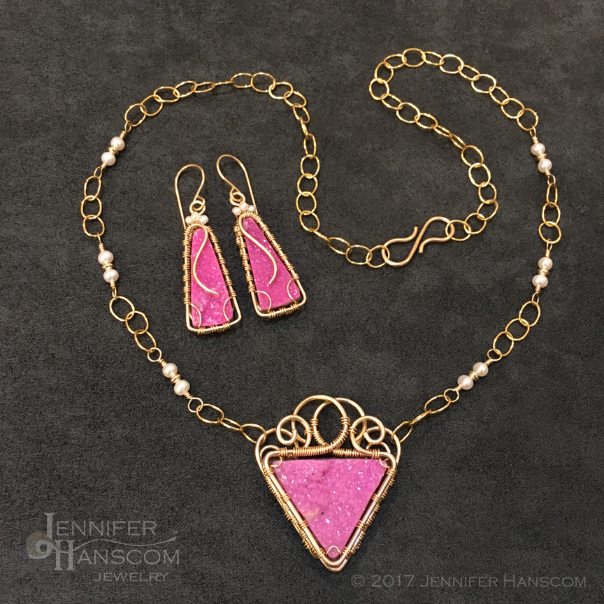 Pink Druzy Pendant and Earring Set Wrapped in Gold with Pearl Accents