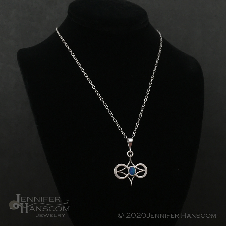 Silver Infinity Symbol Pendant featuring black opal